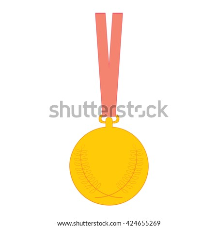 Gold medal Medal with Olive Branch and red ribbon. Vector illustration golden medal icon isolated on white background. - stock vector
