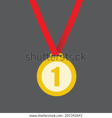 Gold medal on ribbon isolated on a grey background. First place, award or victory sign or symbol. Vector illustration.  - stock vector