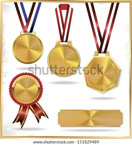 gold medal set - stock vector