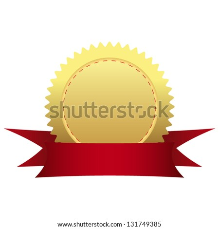 Gold medal with ribbon - stock vector
