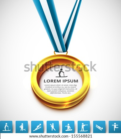 Gold medal with sports icons. Illustration contains transparency and blending effects, eps 10 - stock vector