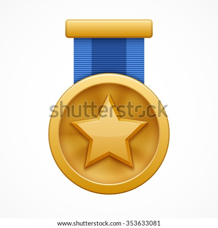 Gold medal with star - stock vector