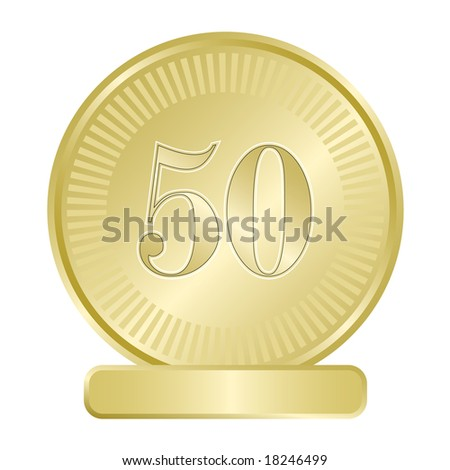Gold medallion for fiftieth golden anniversary or as substitute for fifty cent abstract coin. - stock vector