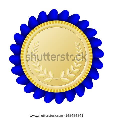 Gold medallion with blue ribbon - stock vector