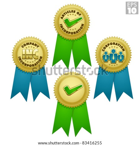 Gold medals, bursts for business incorporation, and approved award with ribbon