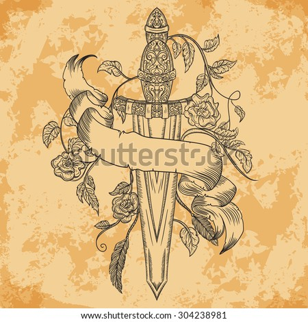 Gold medieval sword, roses, leaves, feathers and  ribbon banner on aged paper background. Vintage floral highly detailed hand drawn illustration. Isolated elements. Victorian Motif. Tattoo design - stock vector