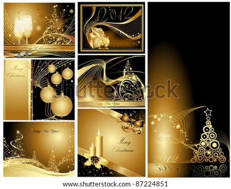 Gold Merry Christmas and Happy New Year collection - stock vector