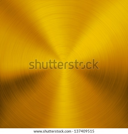 Gold metal background with realistic circular brushed texture (chrome, iron, stainless steel, silver) for user interfaces (UI), applications (apps) and business presentations. Vector illustration. - stock vector