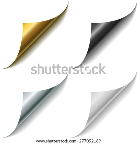 Gold, metal, black and white page corner curls vector template. - stock vector