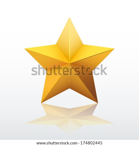 Gold metal five-pointed star. Vector illustration, isolated and editable. - stock vector