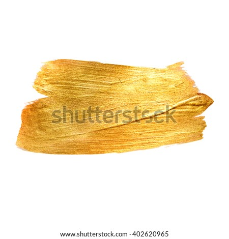 Gold Metal Foil Glitter Brush Stroke. Golden Stroke Vector Design Illustration. Foil Shiny template. Pearl Gloss Design. Watercolor Metallic Paint Texture  - stock vector