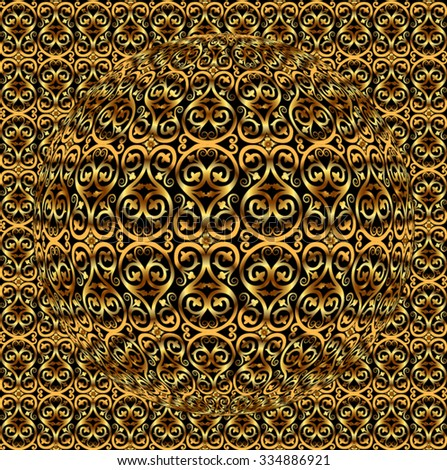 gold metal ornamental pattern / vector illustration