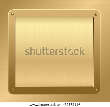 Gold metallic plaque on a gold background. Vector illustration.