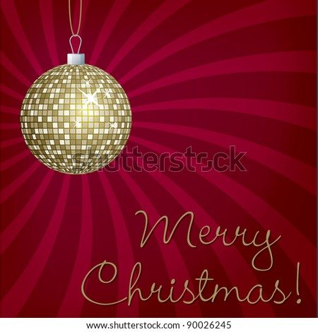 Gold mirror ball Merry Christmas card in vector format. - stock vector