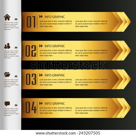 gold modern text box template for website computer graphic and internet, numbers. - stock vector