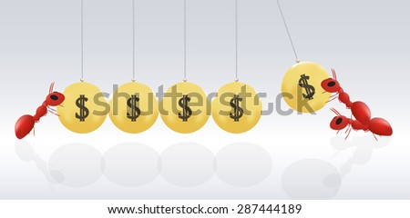 gold momemtum with ants - stock vector