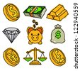 Gold Money and Financial Doodle Icons - stock vector
