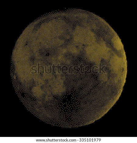 Gold Moon. Vector Illustration. Dotted Space Background. Engraving Texture.