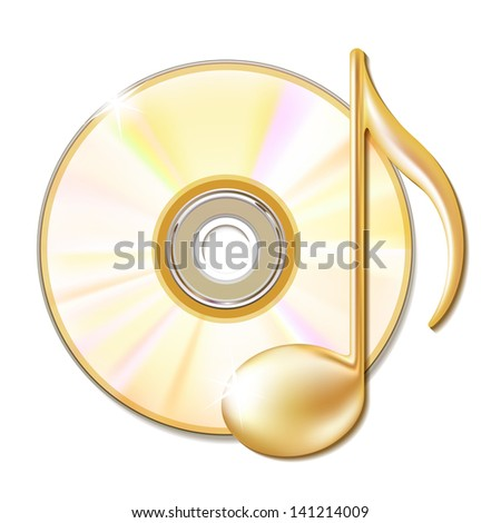 Gold musical note and cd disk - music icon. Vector illustration - stock vector