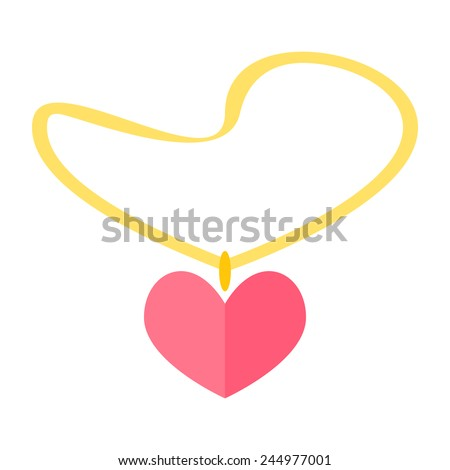 Gold necklace with heart shaped pendant - vector illustration - stock vector