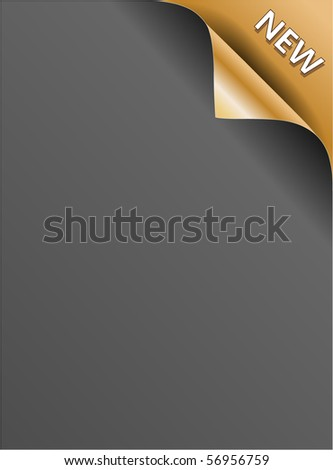 Gold NEW corner background - paper with curl - stock vector