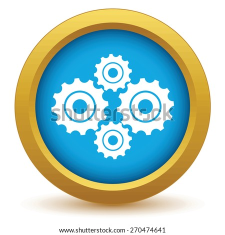 Gold new mechanism icon on a white background. Vector illustration - stock vector