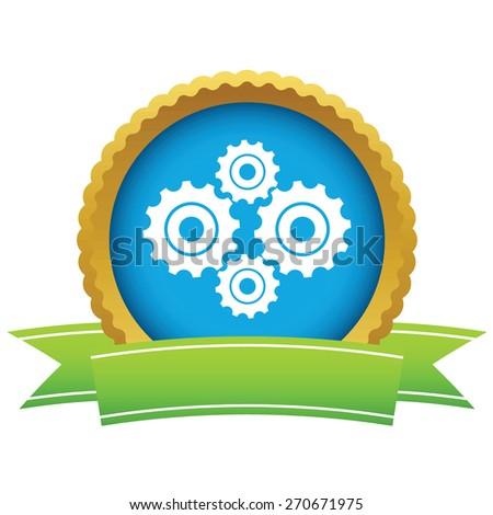 Gold new mechanism logo on a white background. Vector illustration - stock vector
