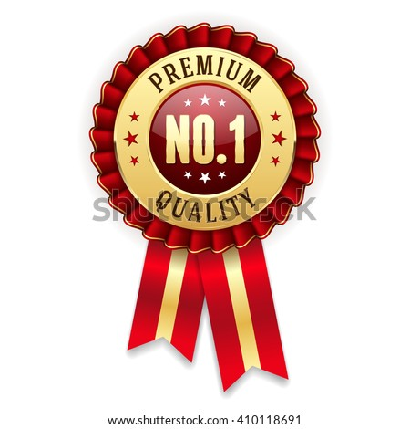 Gold no. 1 premium quality badge / rosette with red ribbon - stock vector