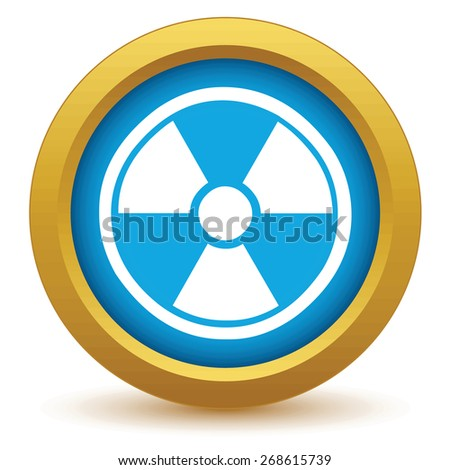 Gold nuclear icon on a white background. Vector illustration - stock vector