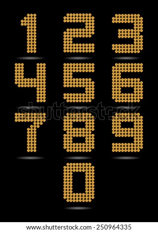 Gold Numbers  - stock vector