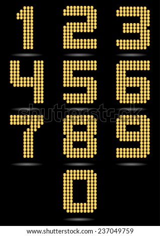 Gold Numbers Set - stock vector