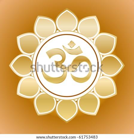 gold om symbol on flower - stock vector