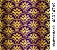 Gold on purple seamless peacock sari pattern (Eps10); JPG version also available - stock photo