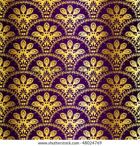 Gold on purple seamless peacock sari pattern (Eps10); JPG version also available - stock vector