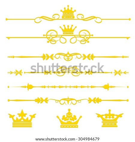 Gold on white background. Decorative elements. Vintage design. For wedding, birthday, invitation. Template for decorating books, postcards, menu, wallpaper, wall, web design. Vector image (set 1) - stock vector