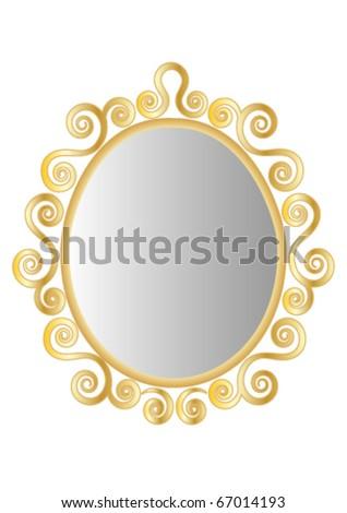 Gold Ornate Mirror or Frame - stock vector