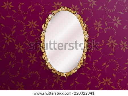 gold ornate vintage mirror - vector illustration - stock vector