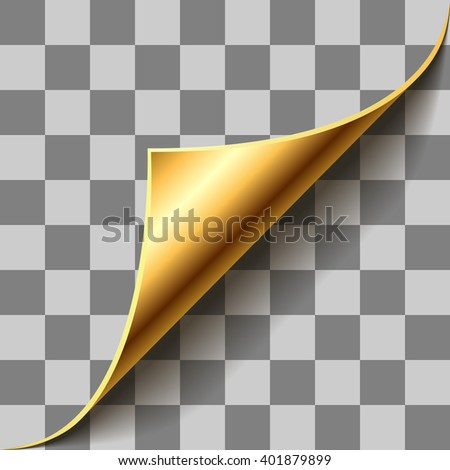 Gold page corner curl on checkered background. EPS 10 page curl template with transparency. - stock vector