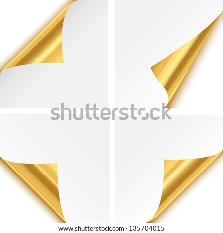 Gold Paper Corner Folds - Set of four gold paper corner folds isolated on white background. - stock vector