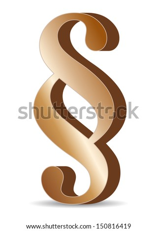 gold paragraph sign - stock vector