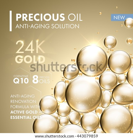 Gold pearl face mask anti-aging treatment solution. 24 Karat Gold oil bubbles on precious background.  - stock vector