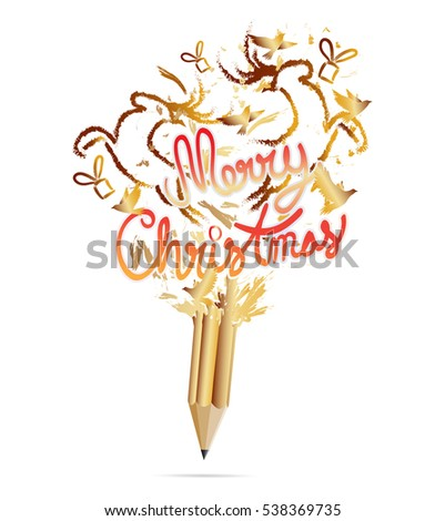 Gold Pencil with Merry Christmas-vector