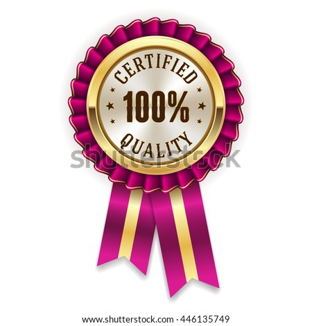Gold 100 percent certified quality badge, rosette with purple ribbon - stock vector