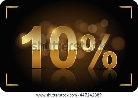 Gold 10 percent. Vector image. - stock vector