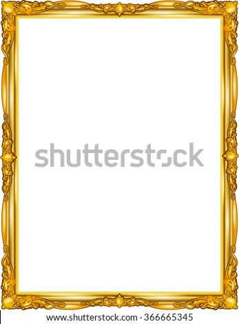 gold photo frame floral for picture, vector - stock vector