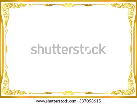 gold photo frame floral vector for picture - stock vector