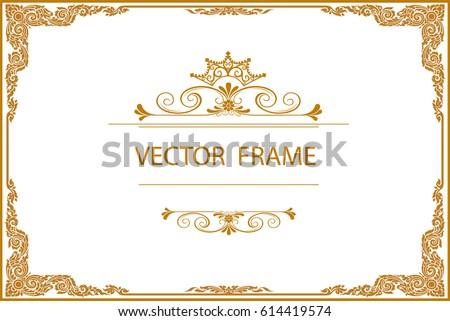 Gold Photo Frame Corner Thailand Line Stock Vector 614419574 ...