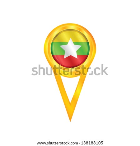 Gold pin with the national flag of Myanmar