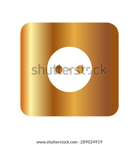 Gold power plug (power outlet, electric outlet) - stock vector