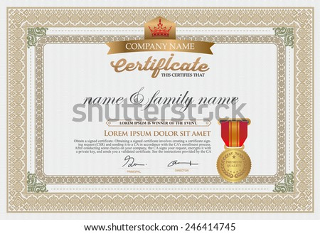 Gold Premium certificate template with additional design elements - stock vector